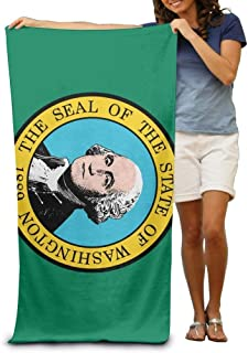 Flag of Washington Adult Beach Towels Fast/Quick Dry Machine Washable Lightweight Absorbent Plush Multipurpose Use Quality Towels for Swim,Pool,Beach,Gym,Camping,Yoga