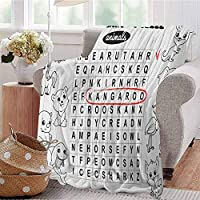 fenlin Word Search Puzzle Comfortable Large Blanket Black and White Game Sheet Design Finding The Names of Animals Microfiber Blanket Bed Sofa or Travel W91 x L60 Inch Black White Red