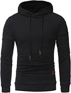 YuKaiChen Men's Hoodies Square Pattern Quilted Hoody Sweatshirt