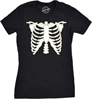 Womens Glowing Skeleton Tshirt Rib Cage Cool Halloween Glow in The Dark Tee