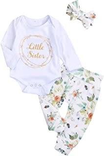 Newborn Infant Baby Girls Clothes Set Little Sister Print Romper Floral Long Pants with Headband 3PCS Outfit