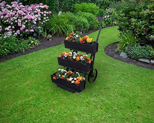 Beauty.Scouts 3er Set Blumenkästen für Blumenkarre Margarete II anthrazit imprägniert 68x24x17cm Blumenkasten Blumendeko Blumendekoration Terrassendeko