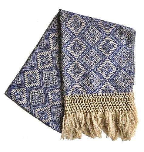 Mexican Handmade Rebozo Shawl (Blue)