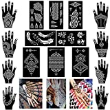 Xmasir Pack of 16 Sheets Henna Tattoo Stencil/Templates Temporary Tattoo Kit,Indian Arabian Self Adhesive Tattoo Sticker for Hand Body Paint