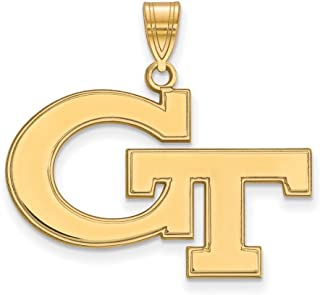 Jewelry Stores Network Georgia Tech Yellow Jackets School Letters Logo Pendant Gold Plated Silver