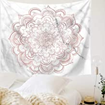 Indusleaf Pink Mandala Tapestry Wall Hanging - Bohemian Living Room Wall Decor for Women Girls, Boho Medallion Gary Marble Tapestry for Room (Pink, S(5159inch))