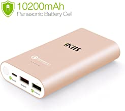 Quick Charge3.0 Power Bank,iKits Panasonic Battery Portable Charger External Battery Pack 10200mAh with Input:QC3.0, Output:2.4A+QC Compatible with iPhoneXr 8 iPad,Galaxy S9/S8,LG G5 & More Rose Gold
