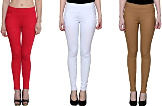 KIBA RETAIL Women's Button Jegging Comfortable and Stretchable Casual Wear Jegging, Combo (Pack-3)_Red/White/Beige