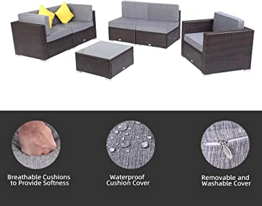 FGHF Outdoor Sectional 6 Pieces Patio PE Wicker Rattan Sofa Set