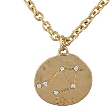 Lux Accessories Gold Tone Crystal Libra Zodiac Constellation Horoscope Necklace