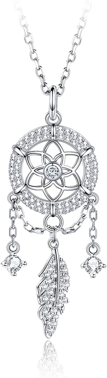 67% OFF of fixed price ZPEE Layered Necklace Girl Max 83% OFF Dream Silver Catcher Pendant Sterling