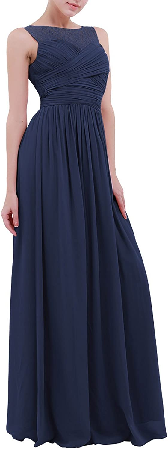 dPois Womens Sleeveless Lace Chiffon Ruched Empire Bridesmaid Dress Long Evening Prom Gown