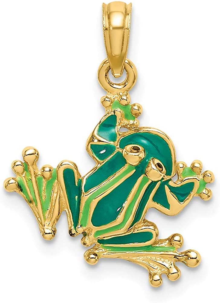 14k Yellow Gold Green Enameled 2 Neck Charm Small Ranking TOP1 D Frog New life Pendant