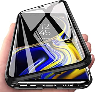 Case for Samsung Galaxy Note 8 Flip Cover Magnetic Adsorption Metal Bumper Frame with Transparent 9H Tempered Glass Full S...