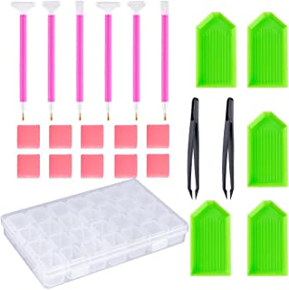OPount 24 Pieces DIY Diamond Painting Cross Stitch Tool Set Including Diamond Stitch Pen, Tweezers, Glue, Plastic Tray and...