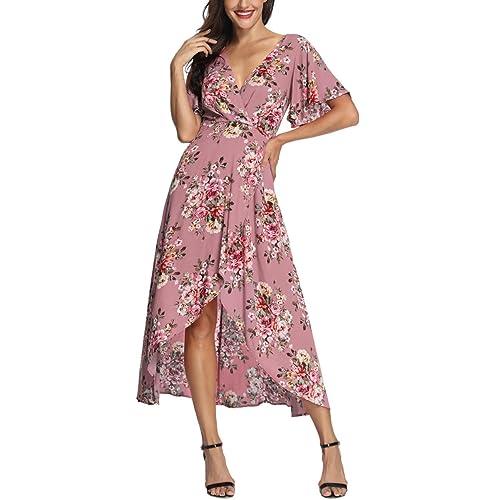 e1de6c15a79 Azalosie Wrap Maxi Dress Short Sleeve V Neck Floral Flowy Front Slit High  Low Women Summer