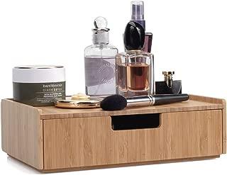 MobileVision Bamboo Makeup Drawer Organizer, Cosmetics Storage Box, Break Resistant Display Case and Drawer