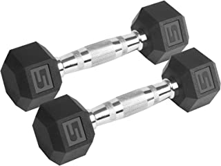 LIONSCOOL PVC Encased Hex Dumbbell in Pairs or Single, Premium Hand Weight with Metal Handle for Strength Training, Resist...