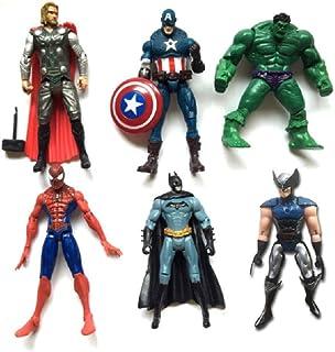 Gumair Superhero Action Figures-6 PCS Hero Model Set- Captain America, Ironman, Thor ,Hulk,Superman, Batman , PVC Figure Toy Dolls – Hero Cake Toppers 5-6inch