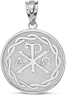 925 Sterling Silver Chi Rho Alpha Omega Symbol Medallion Round Pendant