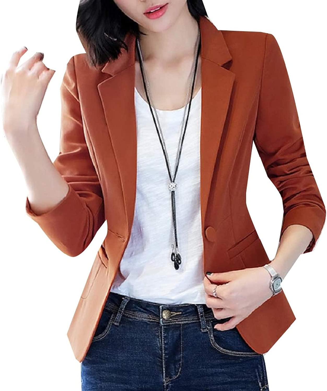 SpaceAngel Women One Button Skinny Notch Lapel Fitted Blazer Fashion Suit Coat