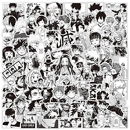 Anime Mixed Stickers,100 Pcs Japan Classic Anime Themed Set Vinyl Waterproof Stickers for Laptop,Bumper,Skateboard,Water Bottles,Computer,Phone,Kids Teens for Stickers (Black and White Anime Stickers)