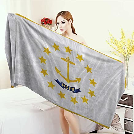 Large Bath Towel American Decor Collection Rhode Island Flag Gold Anchor Thirteen Stars HOPE Ribbon Golden