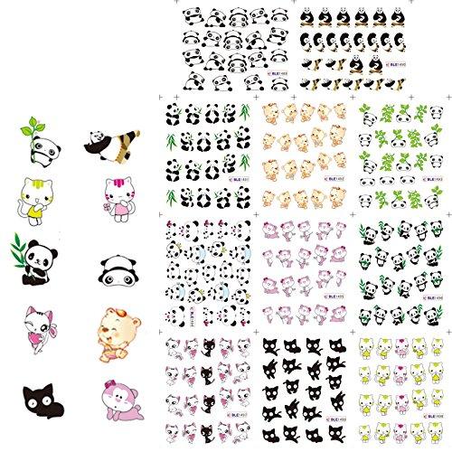 KADS Cute Panda Kung Fu Panda Nail Art Water Decals Transfer Stickers Water Transfer - 1 Pack 11 design