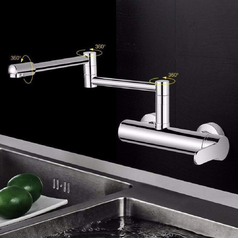 HSDDA Badezimmer-Niederschlag Küchenhahn in der Wand Art Küche hei und kalt Wasser Tank Wasserhahn Spülbecken kann gedreht Werden gestreckt gefaltet und verdickt Wasserhahn Duschkopf