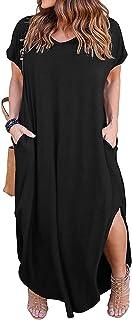 Women's Casual Loose Pocket Long Dress Short Sleeve Plus...