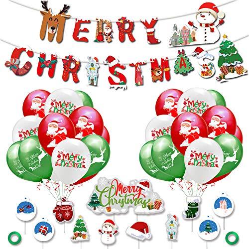 SUNSK Globos de Navidad Decoraciones de Fiesta Globos de Látex colores Merry Christmas Bandera adorno de torta 34 Piezas