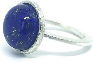 Grazioso anello in argento sterling con prezioso lapislazzuli da 8,4 carati (12 mm x 12 mm). Anello in argento sterling.