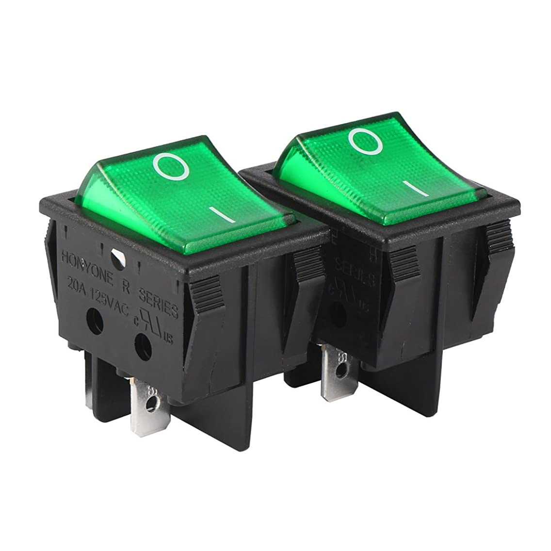 uxcell 2Pcs DPST On Off 4Pin ON/OFF Green LED Light Boat Lights Rocker Switch Push Button switch AC 20A/125V 22A/250V