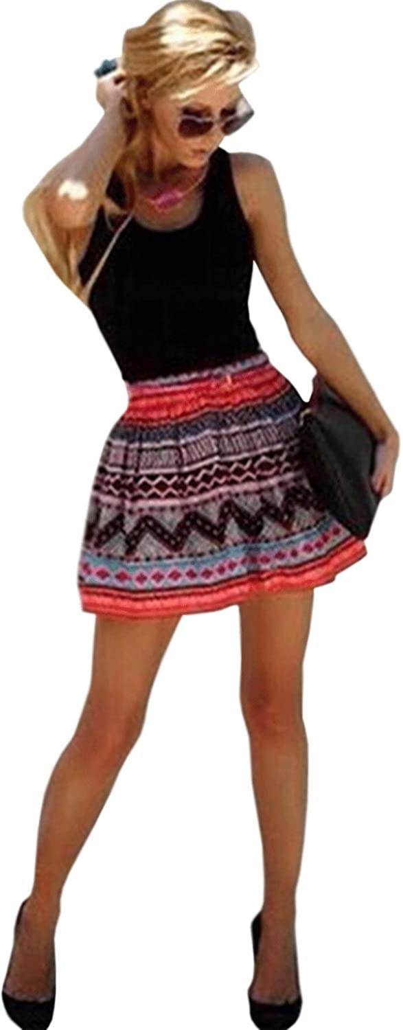 Unomatch Women Short Length Multi Prited Skirt Solid Top Empire Dress Black