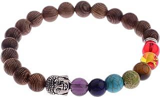 Happiness-Free 8mm New Natural Wood Beads Bracelets Men Black Ethnic Meditation White Bracelet