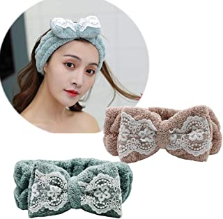 CHuangQi Cute Makeup Hairband with Bow, Spa Facial Mask Headband, Bow Head Wraps for Washing Face & Shower, Seamless Stret...