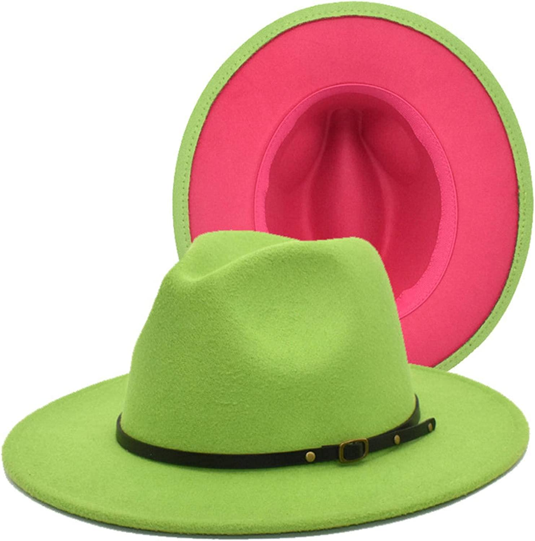 NC Wyzdaqsd Wide Brim Fedora Hats for Women Mens Felt Fedora Hats Two Tone Wide Brim Class Panama Hat with Belt Buckle (Green + Plum red)