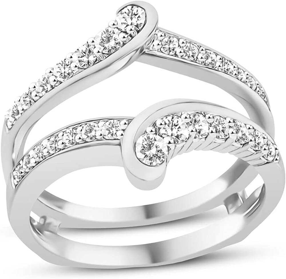 Jewelry Star 14K White Gold Tulsa Mall Plated Cubic Cut Silver Round Ranking TOP12 in Zir