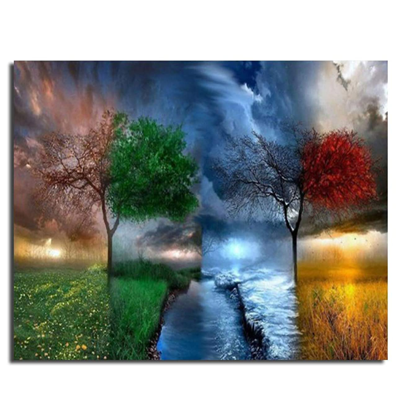 Four Season Tree Paint by Numbers for Adults Beginner On Canvas with 6 Brushes and Colored Canvas Abstract Landscape 16X20 Inch