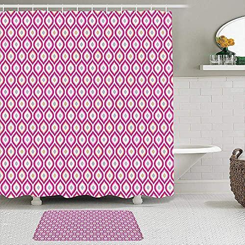 Juego de 2 cortinas de ducha con alfombra antideslizante, impresión elíptica anidada abstracta, cortina de baño impermeable con 12 ganchos