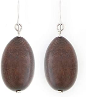 Olives Tagua Earrings in Chocolate Brown, 100% vegetable ivory, tagua nut