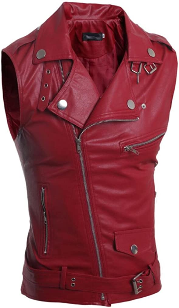Bstge Mens Solid Individuality Motorcycle Biker Leather Vest