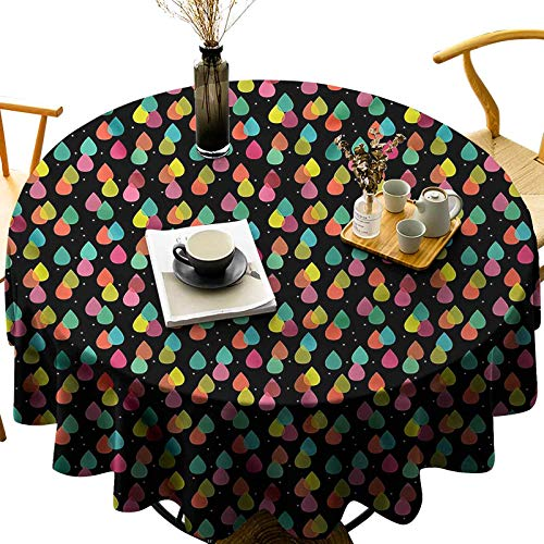 Luxury Soft Fabric Round Table Cloths 100% Polyester Abstract Raindrops Art Diameter 65 inch Holiday Table Cover for Dining Room