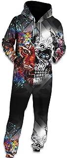 Morbuy Unisex Onesie Hoodie, Men's Adult 3D Print Jumpsuit Stylish Printed One Zip Playsuit Hooded Autumn Warm Pajama Plus...