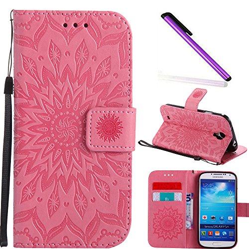 COTDINFOR Galaxy S4 Funda Flores Cierre Magnético Billetera con Tapa para Tarjetas de Cárcasa Elegante Retro Suave PU Cuero Caso Protectora Case para Samsung Galaxy S4 Sunflower Pink KT