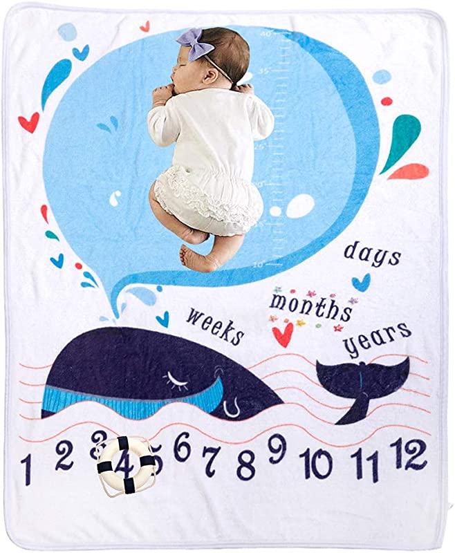 Baby Monthly Milestone Blket For Girl Or Boy Soft Fleece Flannel Large 40X60inch New Baby Photography Props Monthly Milestone Blanket Personalized Baby Shower Gift For New Moms