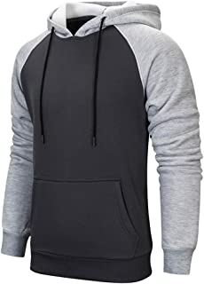 MANLUODANNI Men's Pullover Hoodies Hooded Sweatshirt Patchwork Top Casual Hoody with Kanga Pocket