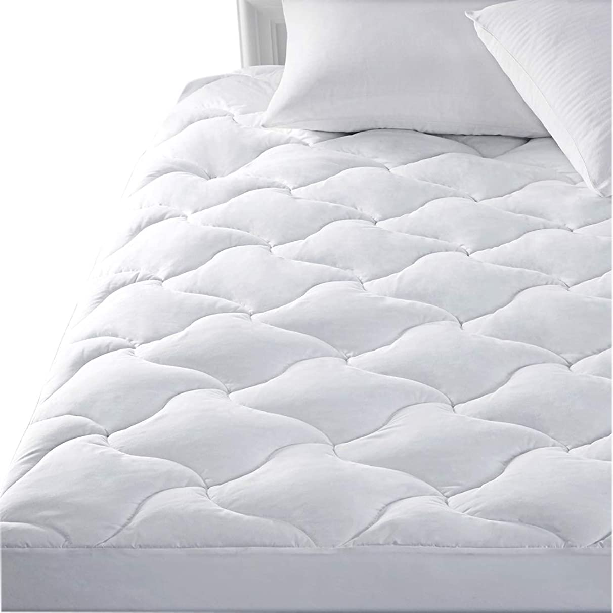 SWTMERRY Mattress Pad Cover Twin Size Hypoallergenic Ultra Soft Quilted Fitted Mattress Protector Fitted Sheet Mattress Cover Antibacterial Breathable -White