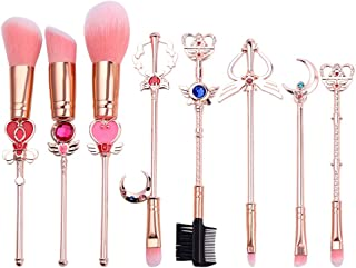 Sailor Moon Makeup Brush 8pcs Set With Pouch, Magical Girl Gold/Rose Gold Cardcaptor Sakura Cosmetic Brushes With Cute Pink Bag (155g Rose Gold)