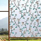Pegatinas electrostáticas teñidas con jazmín 3D película para Ventanas esmerilada Opaca película Decorativa autoadhesiva para Puertas y Ventanas para el hogar E 50x100cm